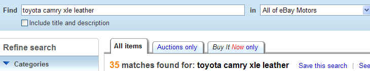 camry title search example
